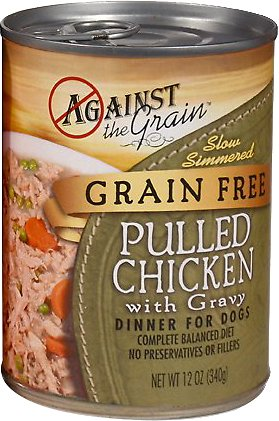 Against the Grain Hand Pulled Chicken with Gravy Dinner Grain-Free Canned Dog Food, 12-oz