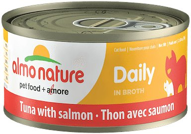 Almo Nature Daily Tuna with Salmon in Broth Grain-Free Canned Cat Food, 2.47-oz