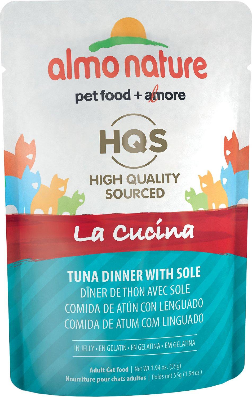 Almo Nature HQS La Cucina Tuna with Sole Grain-Free Cat Food Pouches, 1.94-oz