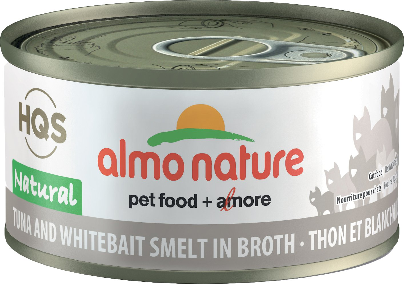 Almo Nature HQS Natural Tuna & Whitebait Smelt in Broth Grain-Free Canned Cat Food, 2.47-oz