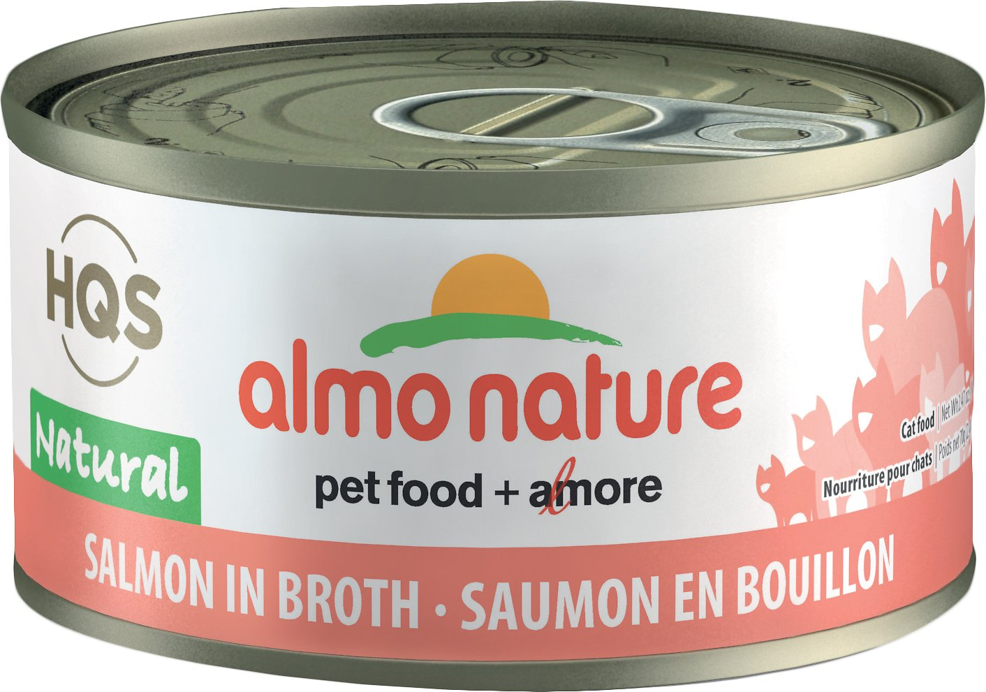 Almo Nature HQS Natural Salmon in Broth Grain-Free Canned Cat Food, 2.47-oz