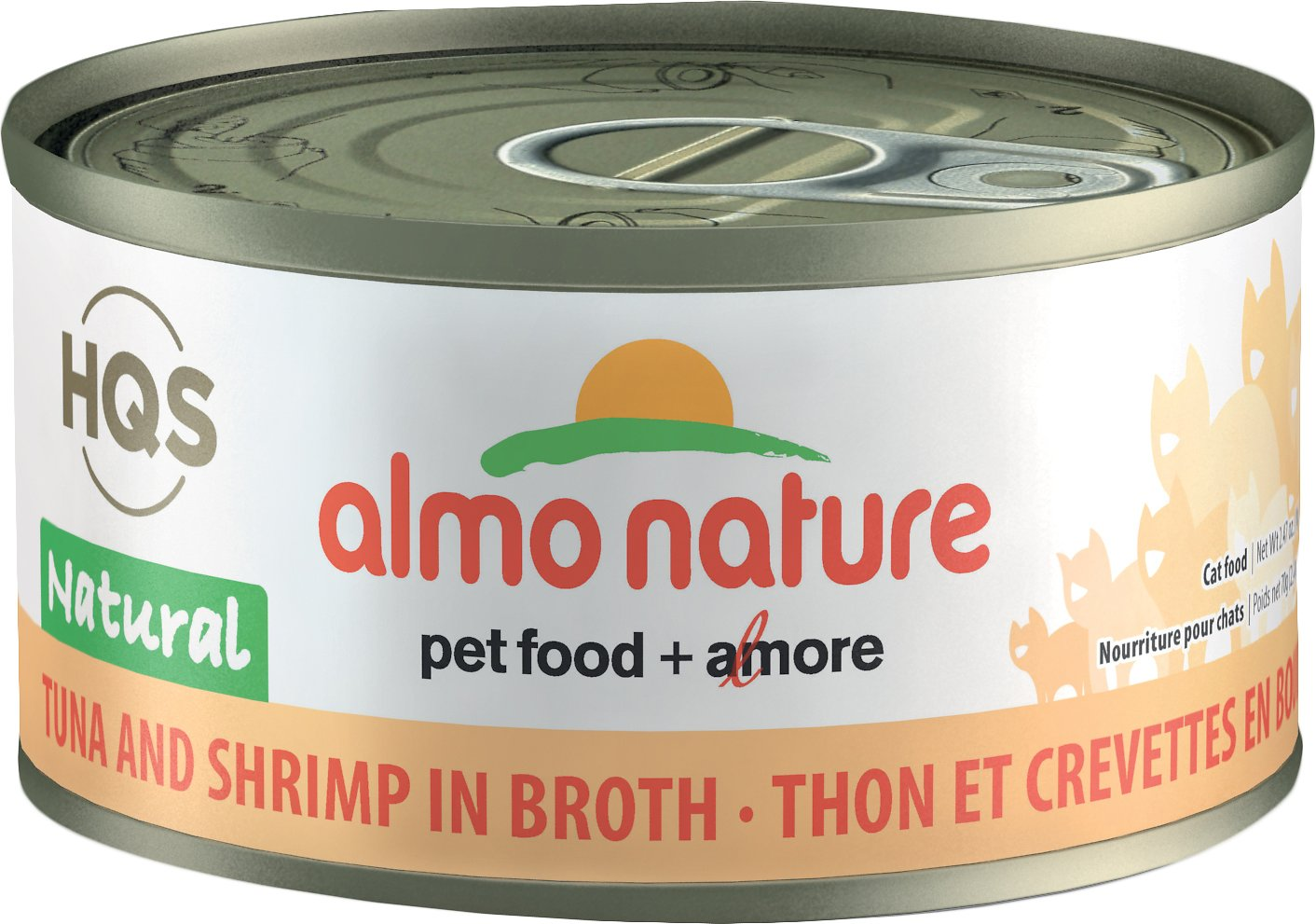 Almo Nature HQS Natural Tuna & Shrimp in Broth Grain-Free Canned Cat Food, 2.47-oz