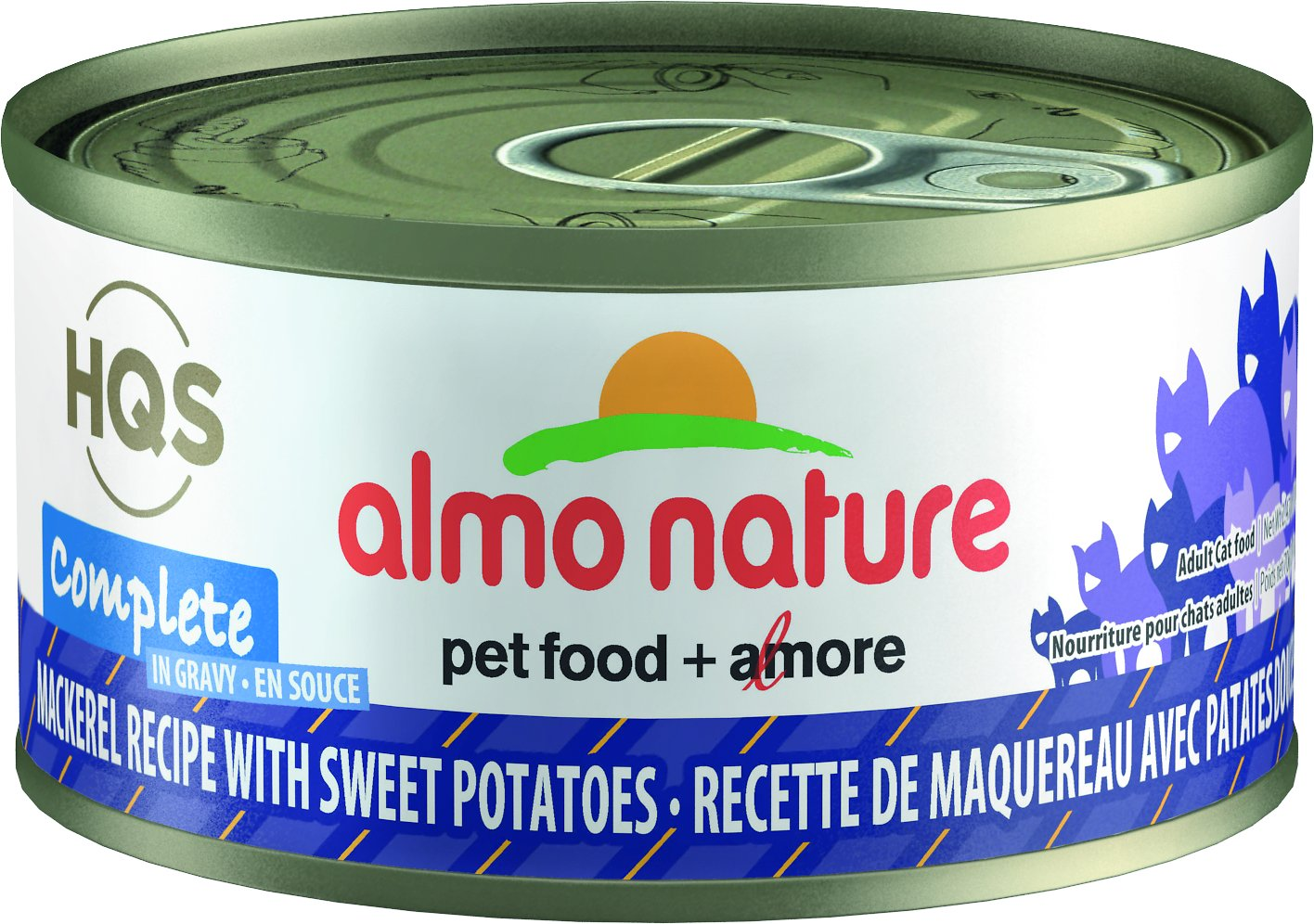 Almo Nature HQS Complete Mackerel Recipe with Sweet Potatoes Grain-Free Canned Cat Food, 2.47-oz
