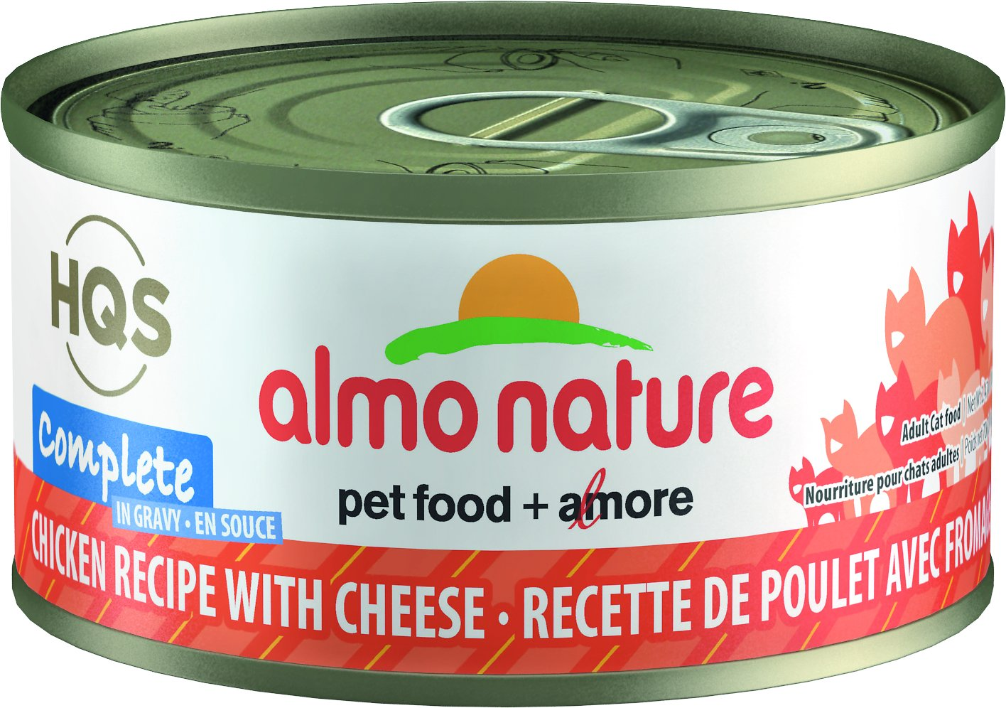 Almo Nature HQS Complete Chicken Recipe with Cheese Grain-Free Canned Cat Food, 2.47-oz