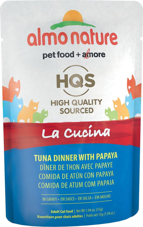 Almo Nature HQS La Cucina Tuna with Papaya Grain-Free Cat Food Pouches, 1.94 oz