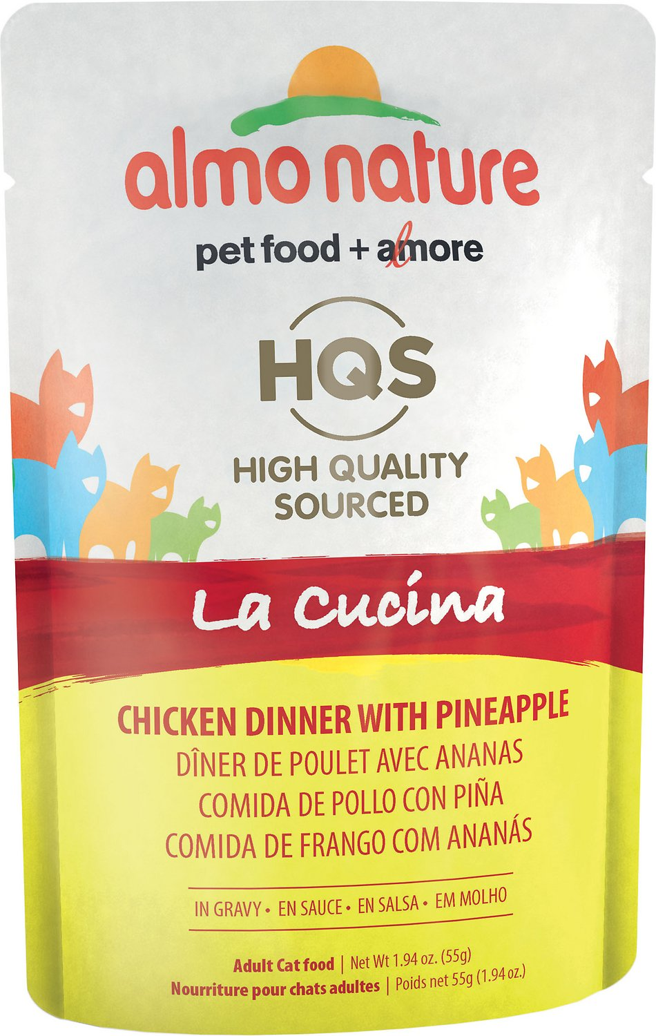 Almo Nature HQS La Cucina Chicken with Pineapple Grain-Free Cat Food Pouches, 1.94 oz