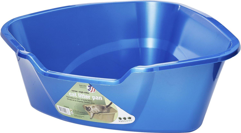 Van Ness High Side Corner Cat Litter Pan, Blue