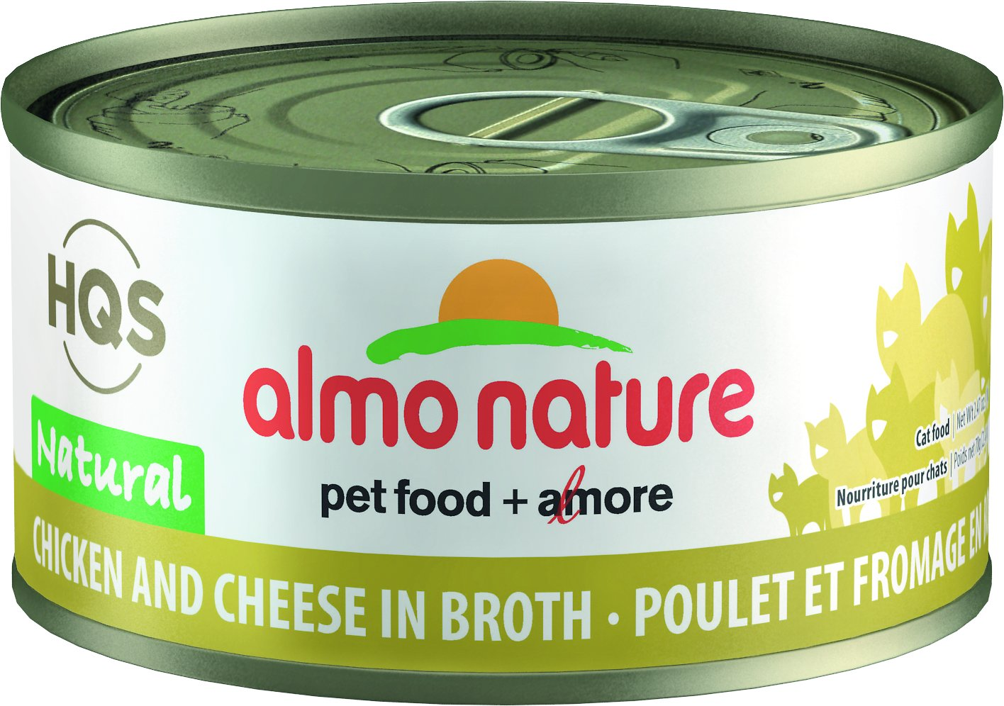Almo Nature HQS Natural Chicken and Cheese Adult Grain-Free Canned Cat Food, 2.47-oz