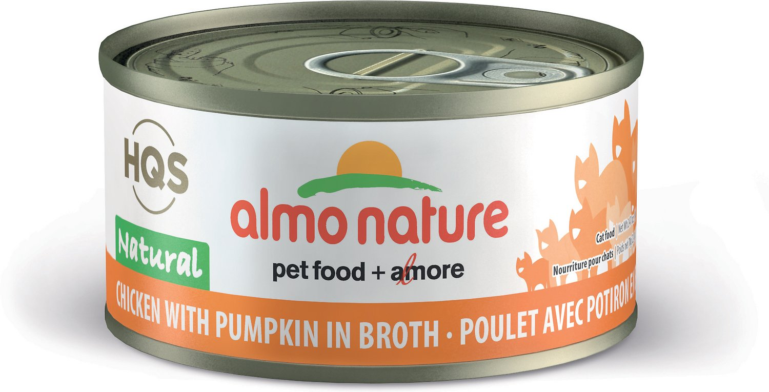 Almo Nature HQS Natural Chicken with Pumpkin in Broth Grain-Free Canned Cat Food, 2.47-oz