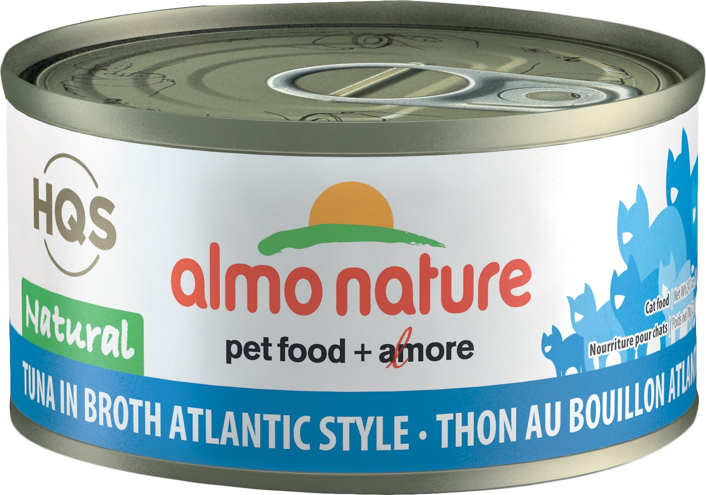 Almo Nature HQS Natural Tuna in Broth Atlantic Style Grain-Free Canned Cat Food, 2.47-oz