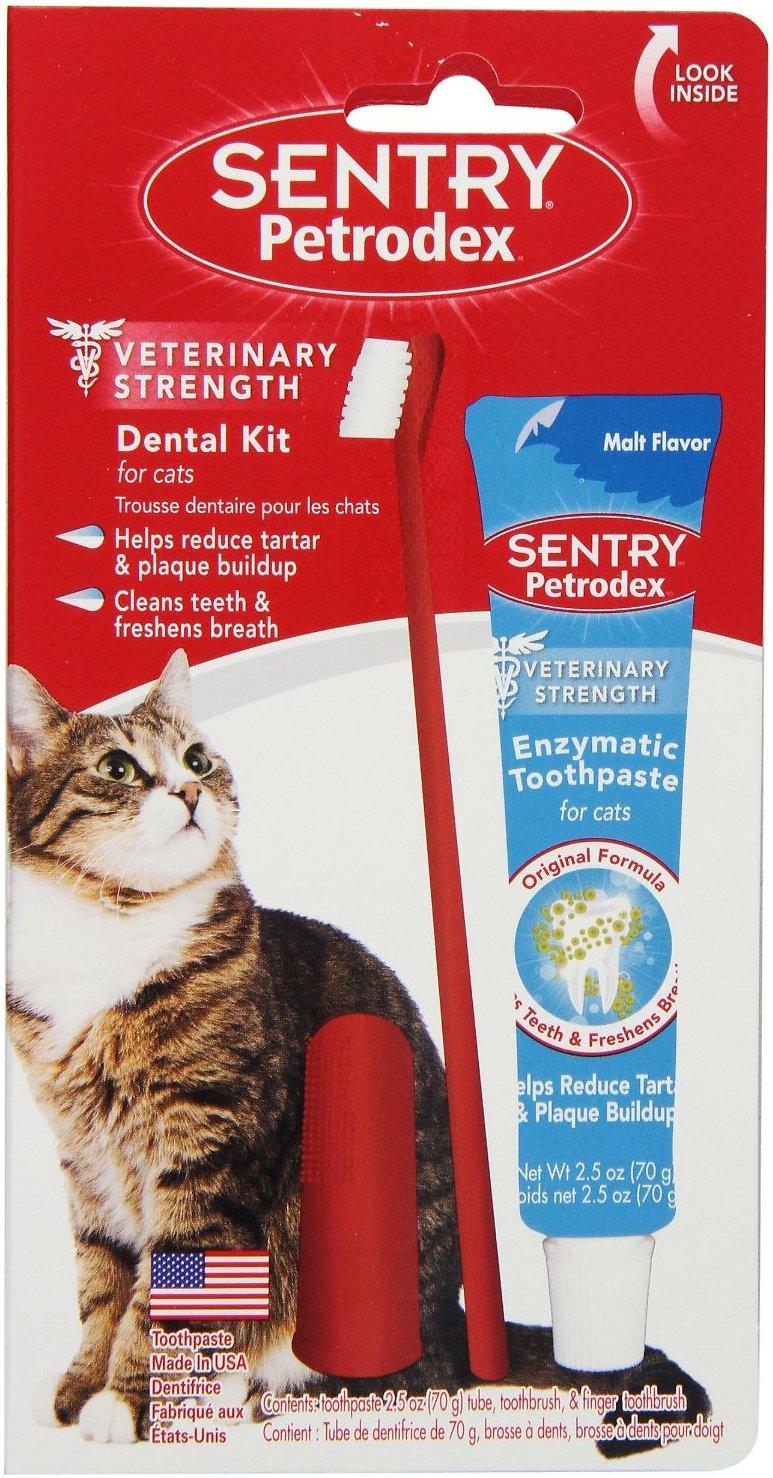 Sentry Petrodex Veterinary Strength Malt Toothpaste Dental Care Kit for Cats
