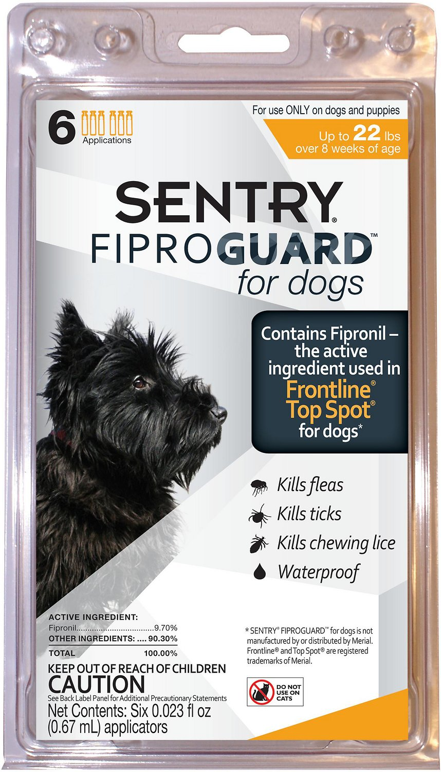 Sentry FiproGuard Flea & Tick Squeeze-On for Dogs (up to 22 lbs)