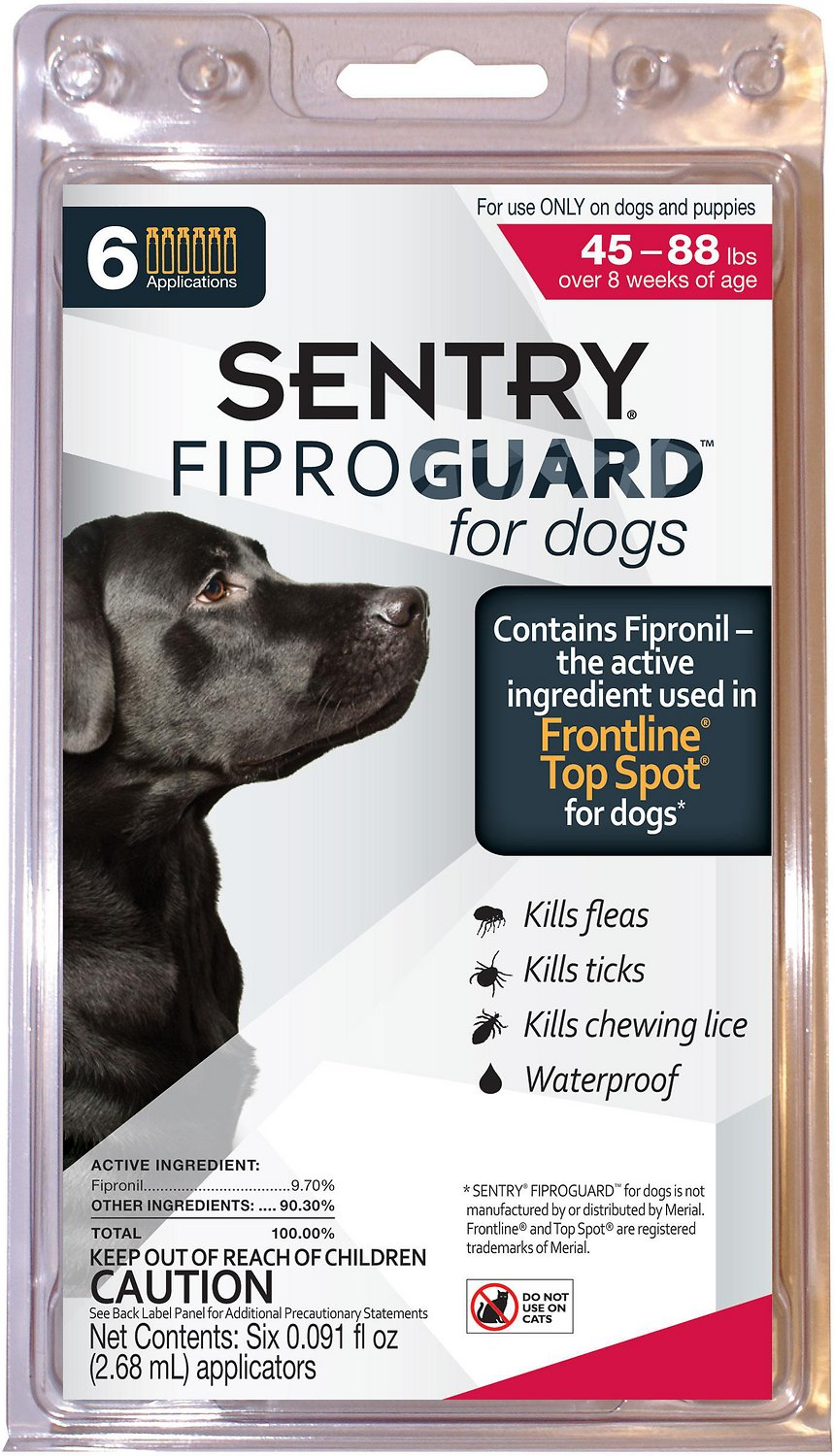 Sentry FiproGuard Flea & Tick Squeeze-On for Dogs (45-88 lbs)