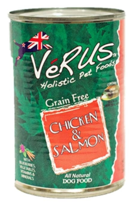 VeRUS New Zealand Grain Free Chicken and Salmon Formula Canned Dog Food, 13.7-oz