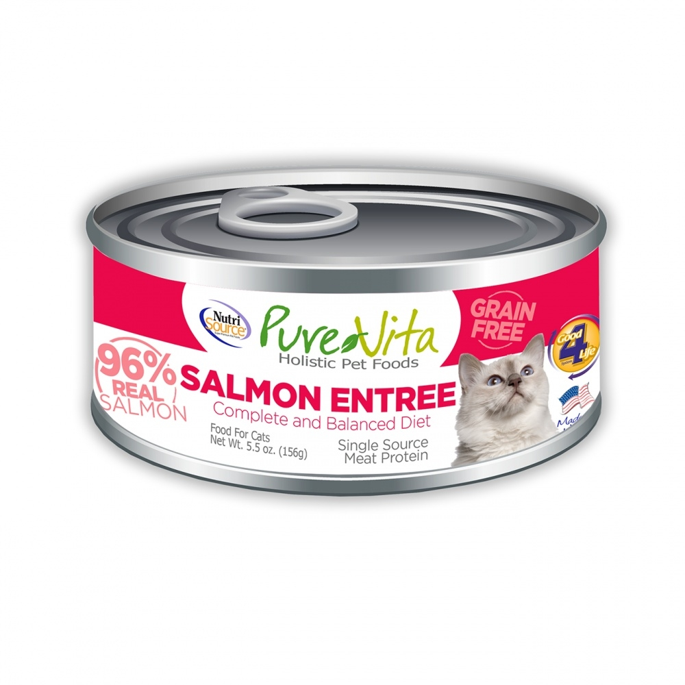 PureVita Grain Free 96% Real Salmon Entree Canned Cat Food, 5.5-oz