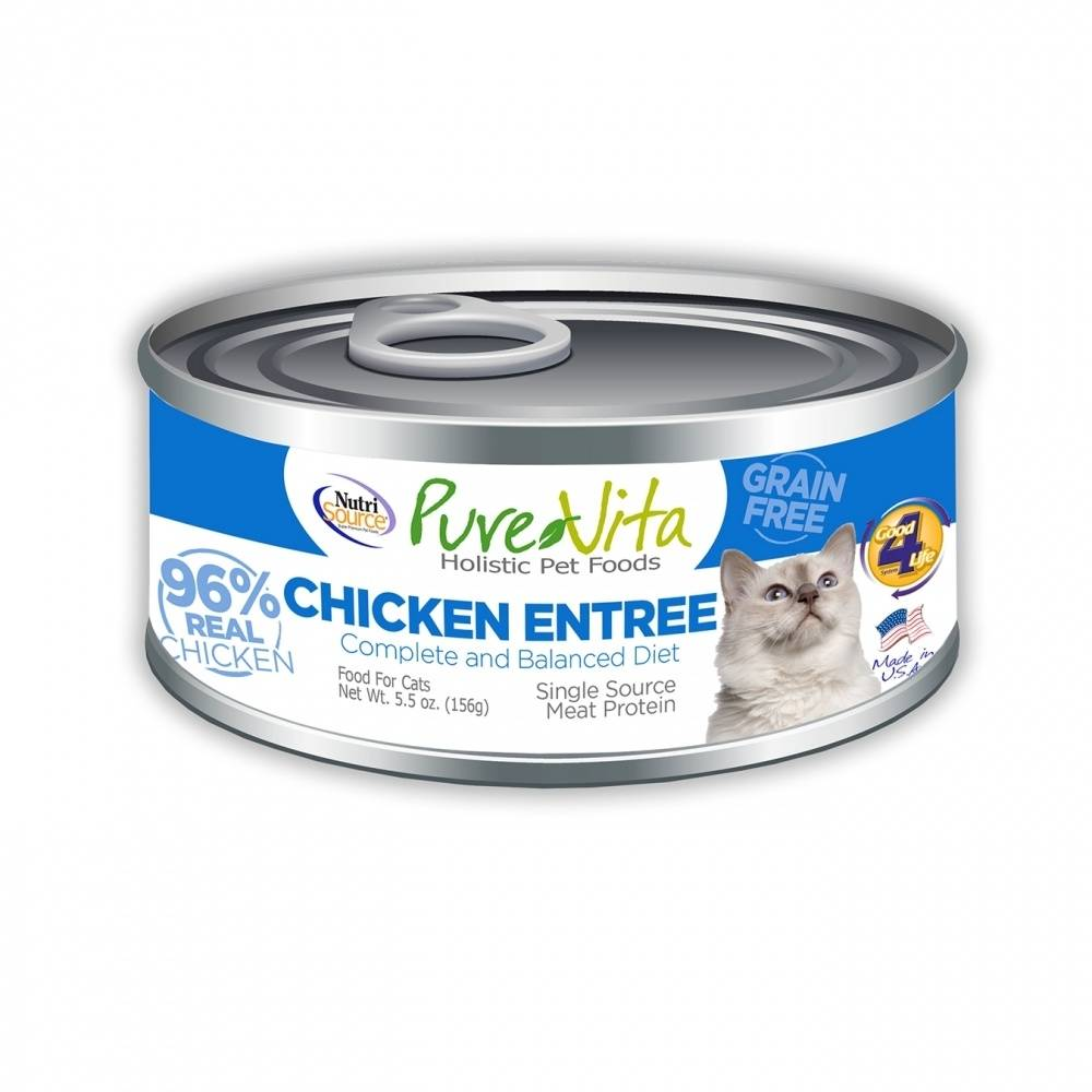 PureVita Grain Free 96% Real Chicken Entree Canned Cat Food, 5.5-oz