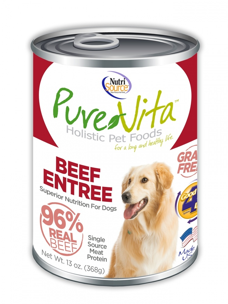 PureVita Grain Free 96% Real Beef Entree Canned Dog Food, 13-oz