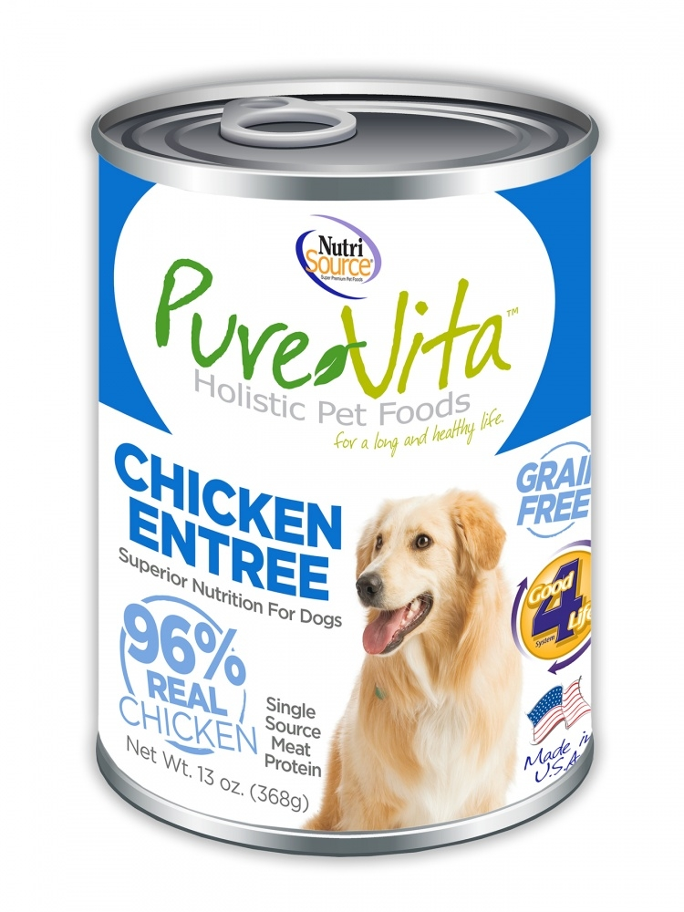 PureVita Grain Free 96% Real Chicken Entree Canned Dog Food, 13-oz
