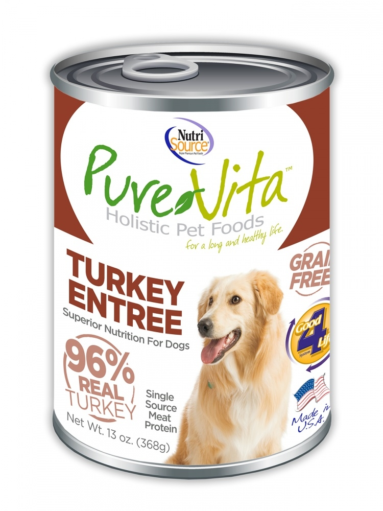 PureVita Grain Free 96% Real Turkey Entree Canned Dog Food, 13-oz