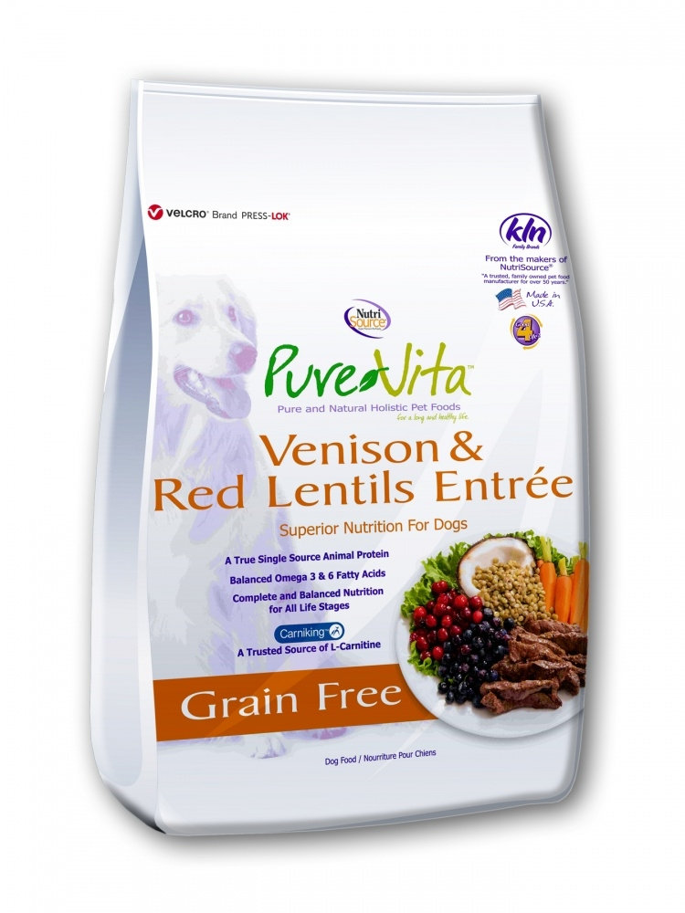 PureVita Grain Free Venison and Red Lentils Entree Dry Dog Food, 5-lb
