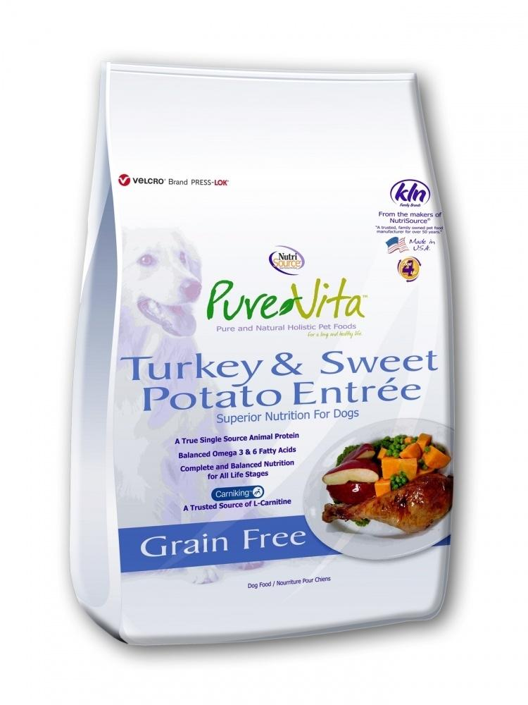 PureVita Grain Free Turkey & Sweet Potato Dry Dog Food, 5-lb