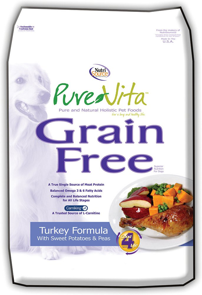 PureVita Grain Free Turkey & Sweet Potato Dry Dog Food, 25-lb