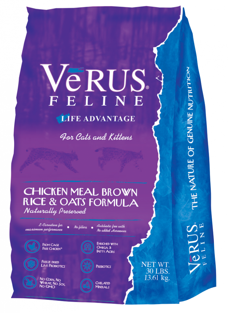VeRUS Feline Life Advantage Diet Chicken Meal and Brown Rice Formula Dry Cat Food, 12-lb Size: 12-lb