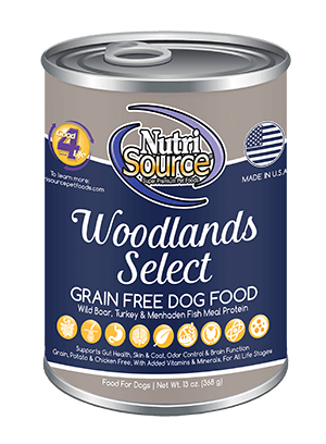 NutriSource Grain Free Woodlands Select Canned Dog Food, 13-oz, case of 12