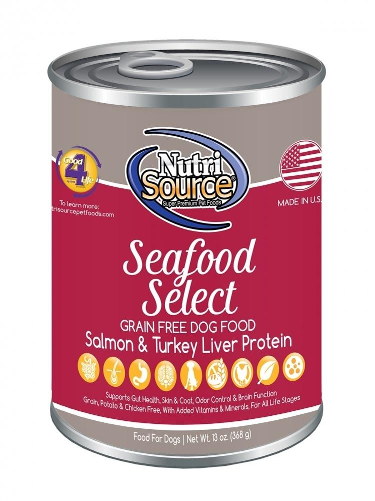 NutriSource Grain Free Seafood Select Formula Canned Dog Food, 13-oz
