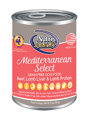 NutriSource Grain Free Mediterranean Blend Canned Dog Food, 13-oz