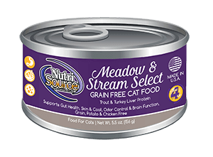 NutriSource Grain Free Meadow & Stream Select Canned Cat Food, 5.5-oz