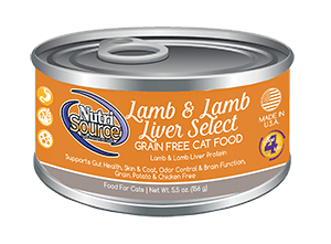 NutriSource Grain Free Lamb & Lamb Liver Select Canned Cat Food, 5.5-oz