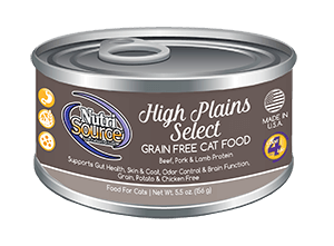 NutriSource Grain Free High Plains Select Canned Cat Food, 5.5-oz