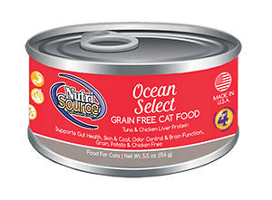 NutriSource Grain Free Ocean Select Canned Cat Food, 5.5-oz, case of 12