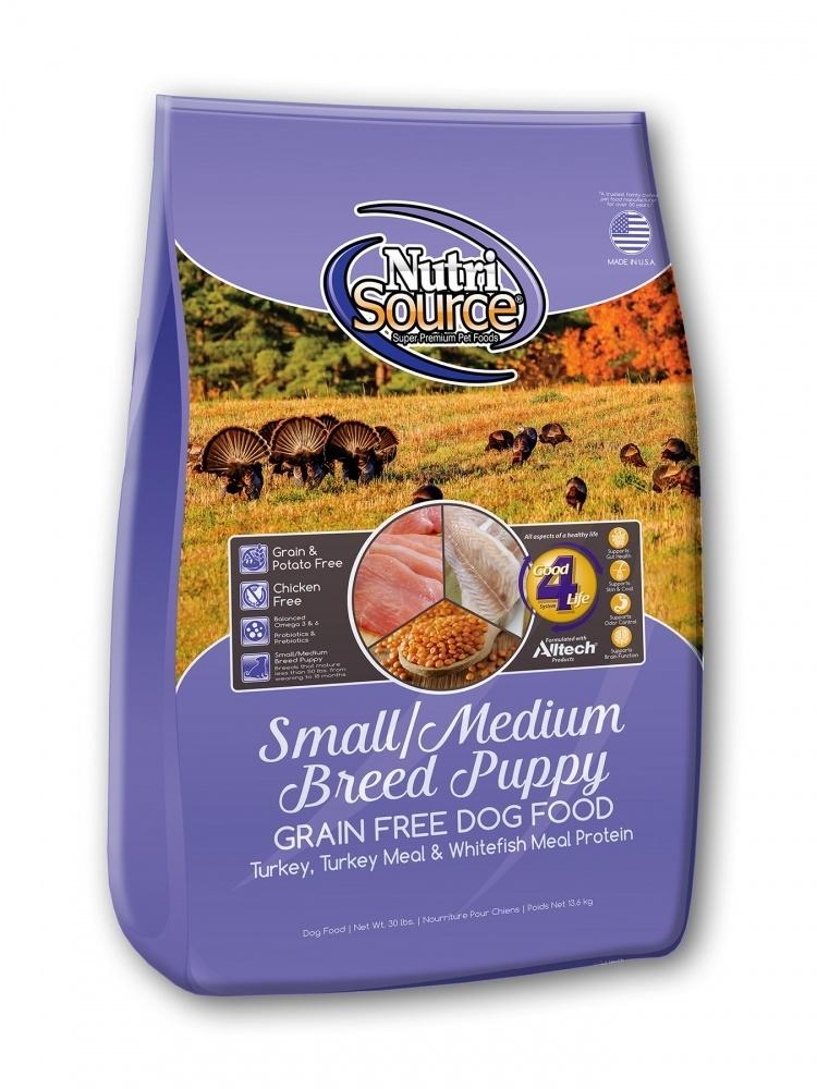 NutriSource Grain Free Small and Medium Breed Puppy Recipe Dry Dog Food, 15-lb