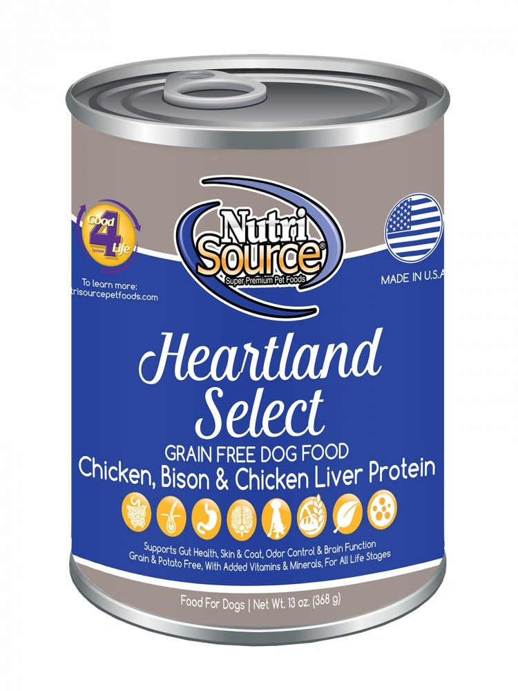 NutriSource Grain Free Heartland Select Formula Canned Dog Food, 13-oz
