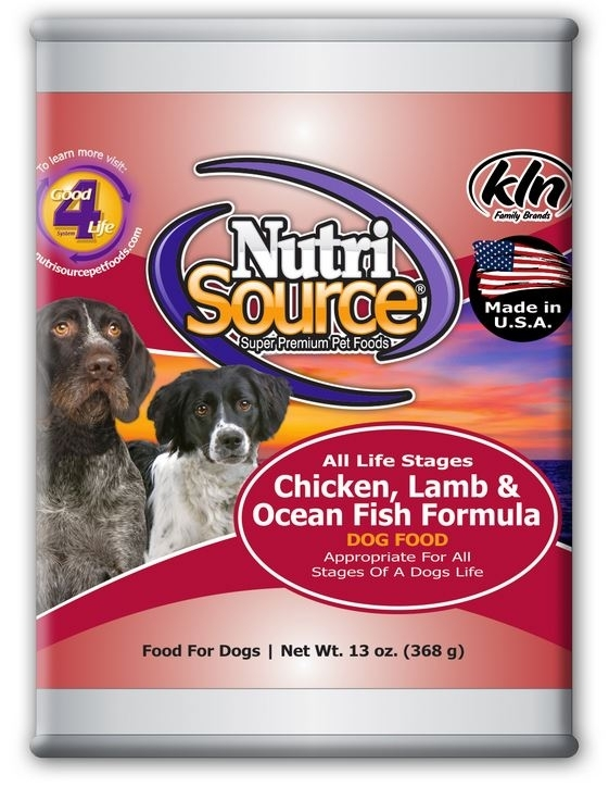 NutriSource Adult Chicken Lamb and OceanFish Canned Dog Food, 13-oz, case of 12