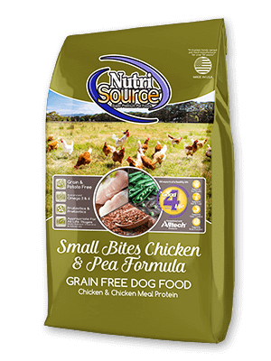NutriSource Grain Free Small Breed Bites Chicken & Pea Recipe Dry Dog Food, 5-lb