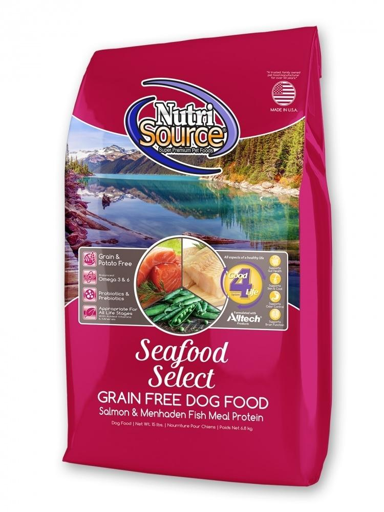 NutriSource Grain Free Seafood Select with Salmon Dry Dog Food, 15-lb
