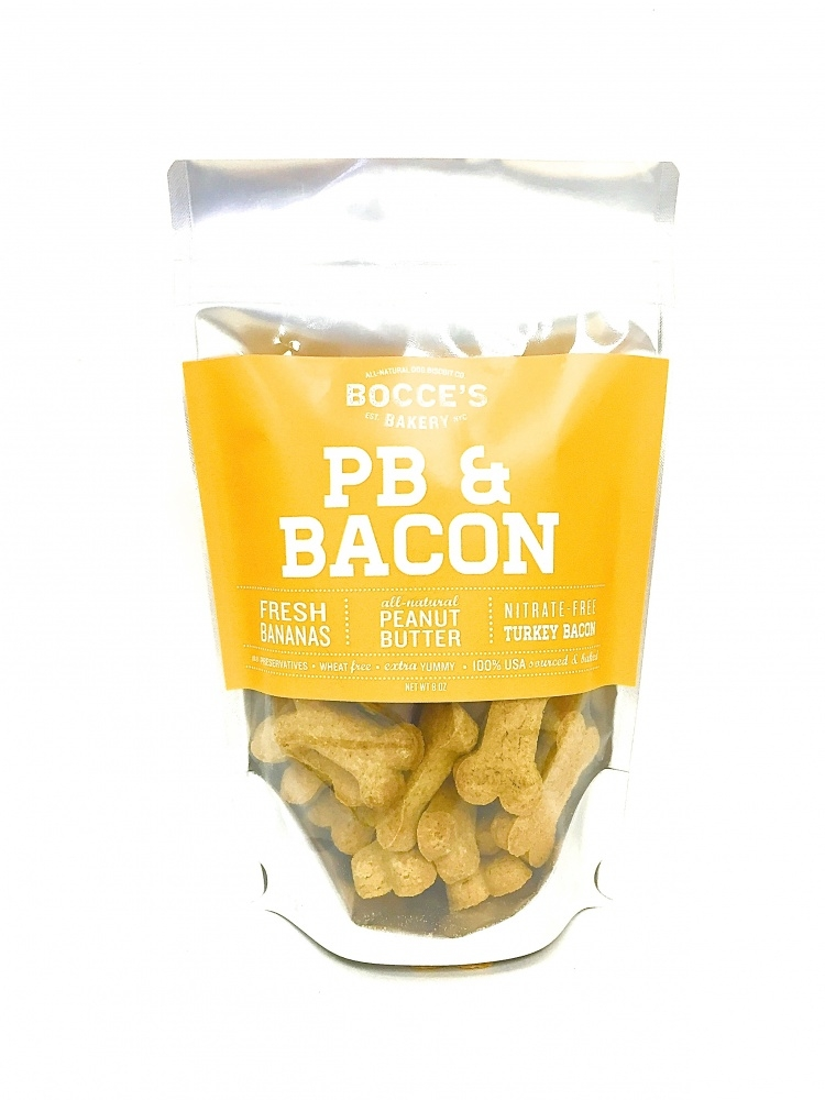 Bocce's Bakery Small Batch Peanut Butter and Bacon Recipe Dog Biscuits, 8-oz