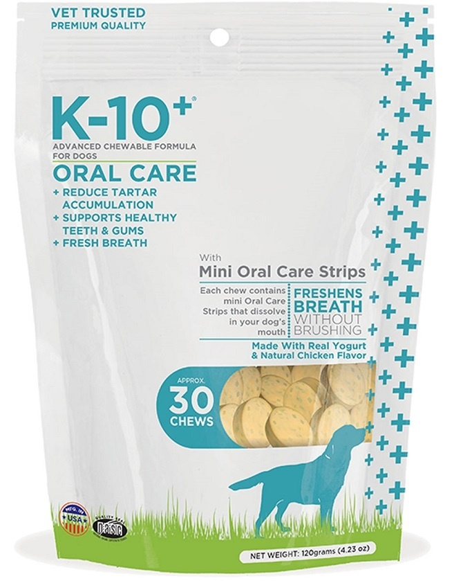 K-10+ Advanced Chewable Grain Free Oral Care Formula for Dogs