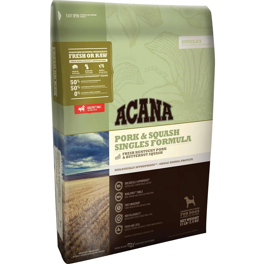 ACANA Singles Limited Ingredient Diet Pork and Squash Formula Dry Dog Food, 13-lb
