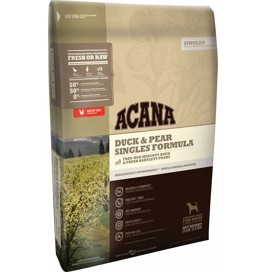 ACANA Singles Limited Ingredient Diet Duck and Pear Formula Dry Dog Food, 13-lb