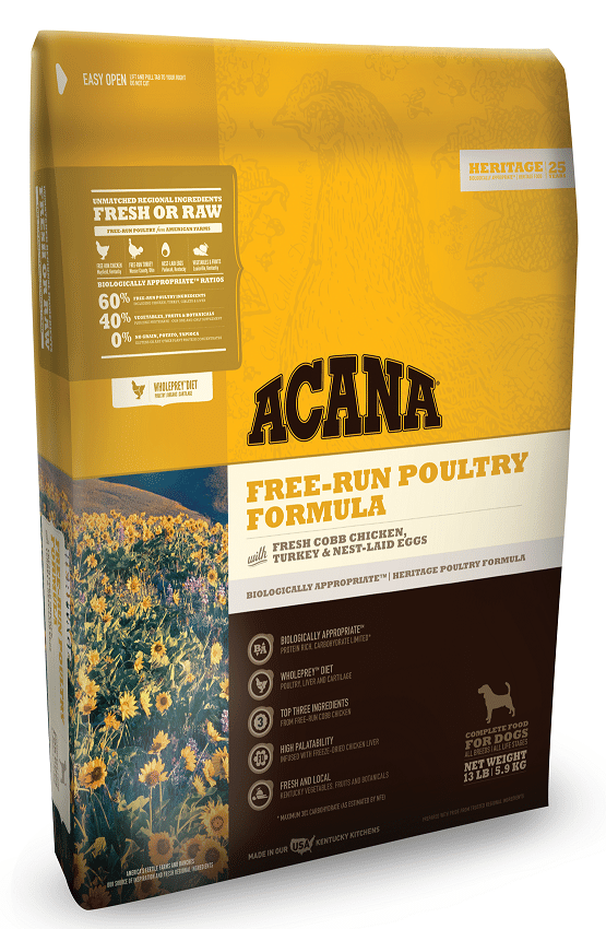 ACANA Heritage Free Run Poultry Formula Grain Free Dry Dog Food, 13-lb