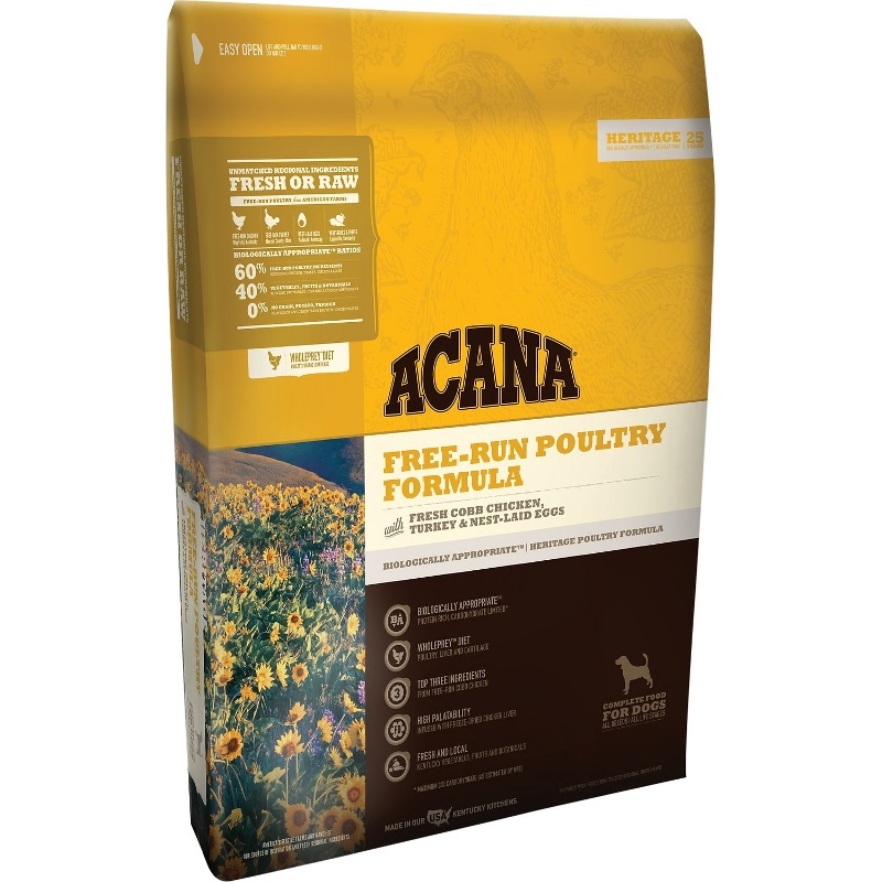 ACANA Heritage Free Run Poultry Formula Grain Free Dry Dog Food, 25-lb