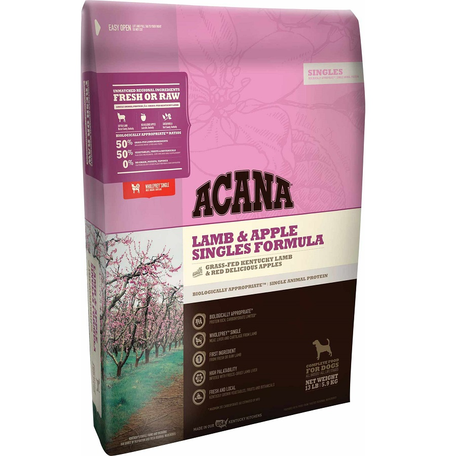 ACANA Singles Limited Ingredient Diet Lamb and Apple Formula Dry Dog Food, 13-lb Size: 13-lb