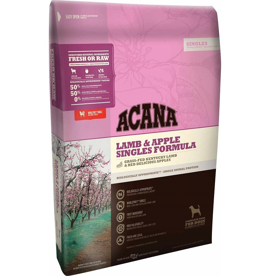 ACANA Singles Limited Ingredient Diet Lamb and Apple Formula Dry Dog Food, 25-lb