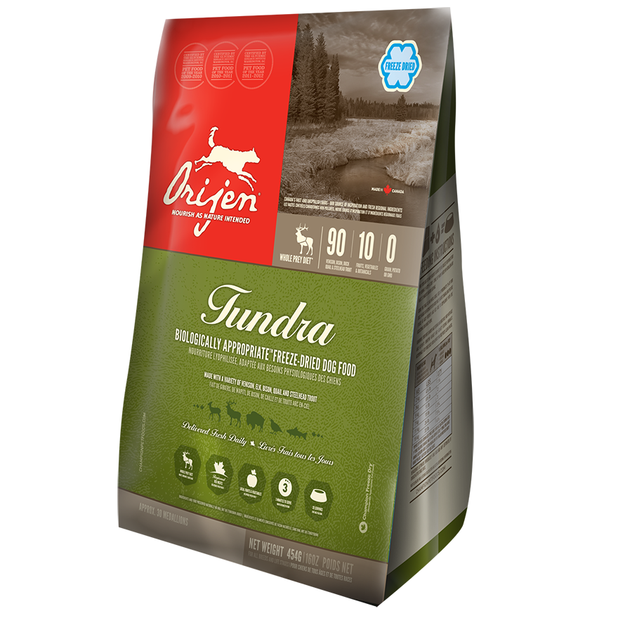 ORIJEN Grain Free Tundra Adult Freeze Dried Dog Food, 16-oz