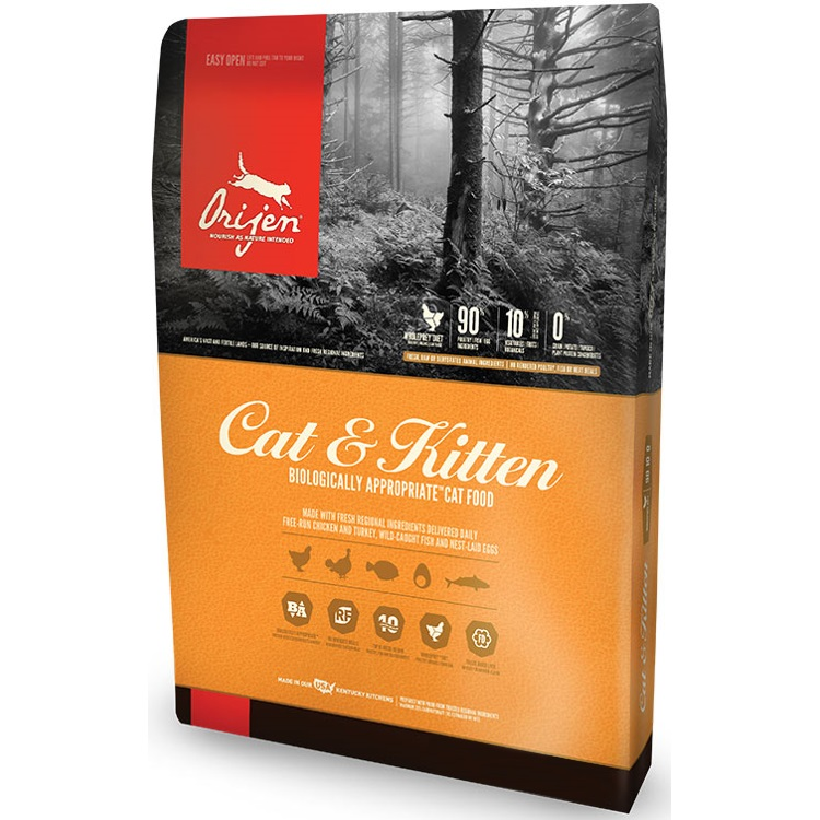 ORIJEN Cat and Kitten Grain Free Dry Cat Food, 12-lb Size: 12-lb