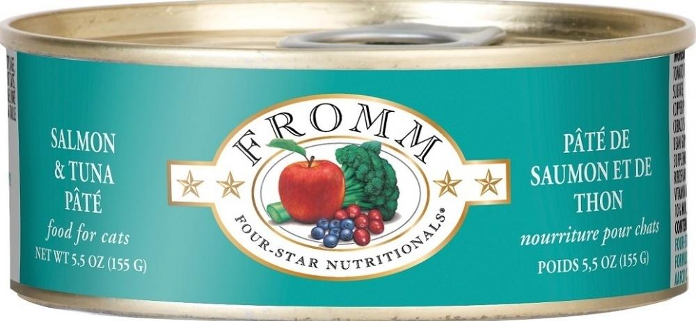 Fromm Four Star Grain Free Salmon and Tuna Pate Canned Cat Food, 5.5-oz, case of 12